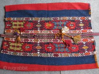"Southe Eastern Anatolia Marash Elbistan tribal grain bag - Chuval all wool with original side strap. Circa 1920 -1930 Size : 43"" - 31"" - 110 cm X 80 cm."