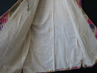 Uzbekistan- Woman's silk Ikat shirt - kurta Lined with hand loomed very fine plain cotton so that it should not be heavy. Adras Ikat facing and silk embroidered all around trim. Circa  ...