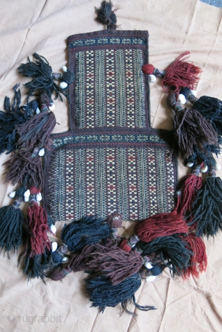 "Baluch double side finely woven salt bag with natural colors and all tassels. Circa 1900 - Size : 18.5"" - 12.5"" - 47 cm - 32 cm"