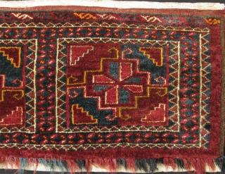 "Turkmen Ersari bag, silk ivory green highlights. Size: 16"" x 59"" - 40 cm x 150 cm."