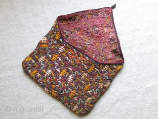 """Turkmen Tekke silk embroidered Small bag. Fairly in good condition, plane cotton lining. Circa 1920-1930. size : 11"""" long open - 8.5"""" wide."""