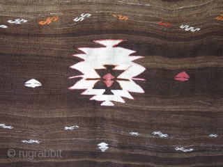 Anatolia - Taurus mountains - Ermenek turkmen tribal small kilim. Camel hair an natural brown wool combination with some extra weft weave. Couple small holes restored with similar natural wool. Circa 1920  ...