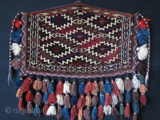 "Turkmen Tomud small size Asmalyk.. All natural saturated colors, fine weave with all original tassels. Circa : 1900 - 1920s size:  25"" - 16.5"" - 64 cm X 42 cm"