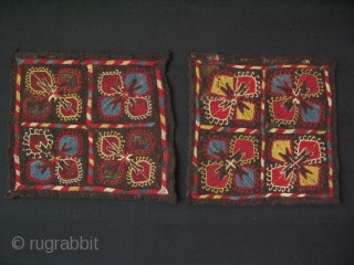 "Central Asian two felt embroidered fragments. Size approx. 16"" x 16"" - 40 cm x 40 cm."
