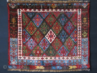 "Iran Kurdish bag face, Circa 1900 or earlier - Upper side red guard borders and small repairs. full pile. Size : 31.5"" X 26""  - 80 cm X 66 cm"