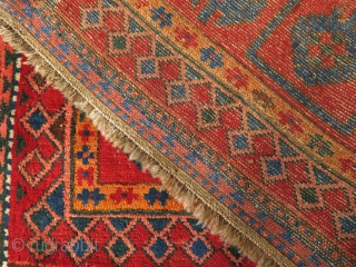 """Kirgiz main carpet, kilim ends and several rows of pile area have restored very professioanlly. circa 1900 or earlier.  Size: 8"""" 3"""" X 3"""" 10"""" - 250 cm X 116 cm"""