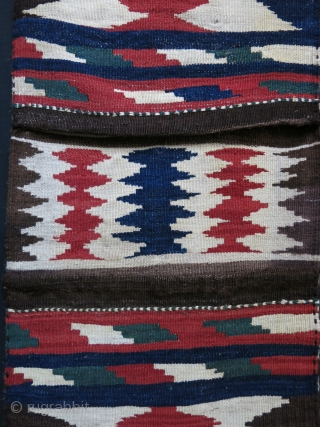 "Caucasian Zagatala area saddle bag, all wool natural colors. Circa 1900-1920s size : 41"" X 16"" - 104 cm x 41 cm"