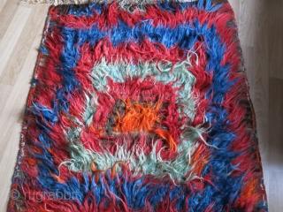 """Eastern Turkey - Tulu,  long wool knotted Kurdish tribal kilim. Circa 1900 or earlier - size : 133"""" X 48"""" - 338 cm X 122 cm"""
