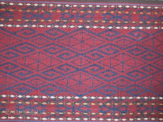"Turkmenistan Yomud tribal complete tent band. All wool and fine strong flat weave. Total almost 17 meters long. 26 cm -over 10"" wide. That is the largest one thye weave to cover  ..."