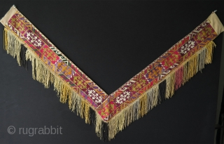 "Uzbek Lakai Segusha. Silk embroidery on cotton. Size: 10 cm - 4"" wide embroidery part without tassels, left arm 64 cm - 25"" and right arm 78 cm 30.5""."