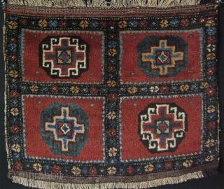 "Kurdish bag face Veramin area. Goat hair + cotton mixed warps. Saturated colors. Circa 1900 or earlier. Size: 27"" X 22"" – 69cm X 56cm."