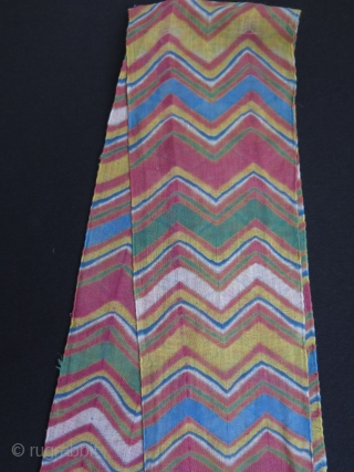 """Turban wrap from Jodphur, Rajasthan India. Tie and dye technique, pure cotton + some gold metallic yarns on one end. Size: 5.5"""" x 176.3"""" - 14 cm x 448 cm."""