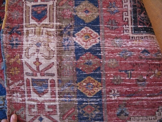 East Anatolian Kurdish main rug. Wool and cotton spun warps cotton and wool wefts circa 1900 or earlier.