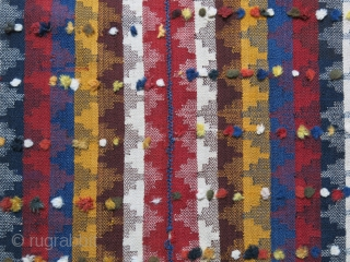 """Qashkai - Moj- blanket fine wool twill weave with wool tufts, saturated natural colors. In good condition with a tiny hole restored and cleaned. Circa 1900 or earlier- size :  91""""  ..."""