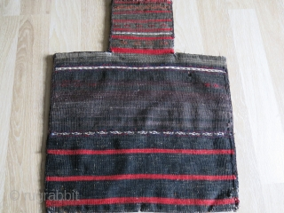 Baluchistan - Turkmen Aksu design Baluch salt bag with amazing fine wool. Has minor restored areas but overall it still has good pile. Black color changes from half way into a dark  ...