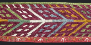 """Turkmen Chodor collar from Karakalpakistan. Silk embroidery on broadcloth and hand loomed cotton backing. Natural colors. Circa 1900s. Size: 4"""" x 50"""" (10cm x 127cm)."""