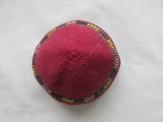 "Central Asian Turkmen tribal hat. Silk embroidery on very finely quilted fabric. Size: 6"" diameter - 4"" high."