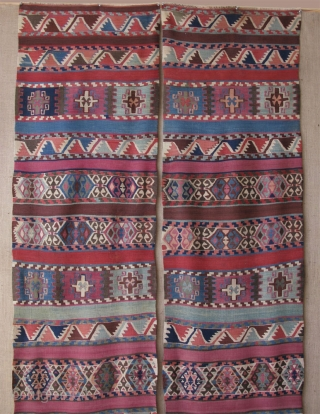 "Maras Elbistan area Kurdish kilim. Size of each panel; 2' 7"" x 12' 8"" - 84 cm x 390 cm."