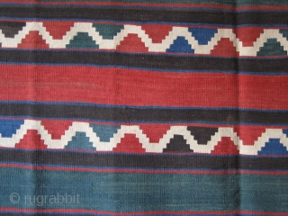 "Shahsavan kilim with saturated colors. Size: 5'10"" x 7'8"" - 178 cm x 235 cm."