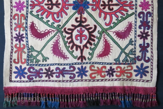 "Kirgiz tribal wall hanging/ mirror cover. Silk and wool embroidery on hand loomed cotton. fine braided silk tassels. Circa 1920s. size : 22.5"" X 23"" - 3"" long tassels."