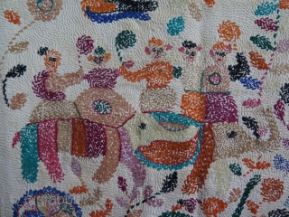 """West Bengal, Khanta- traditional ceremonial folk designs. silk embroidery on fine quilted  cotton. Size 18.5"""" x 19"""" - 47 x 48 cm."""