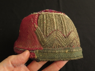 """Afghan Metallic and Silk Embroidered Hat.  Fine silk and strong metallic running and couching stitch embroidery.  Size: 4.7"""" - 12 cm high and 6.7"""" - 17 cm wide in diameters."""