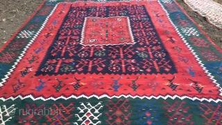 Antique Sarkoy Kilim Rug . Circa 1900 Size 432cm 340cm