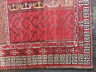 Outstanding Antique Turkmen Ersari Engsi Rug, 19th Century. Good and complete condition with all natural colors including generous use of green and yellow. Unusual if not rare design without the usual engsi  ...
