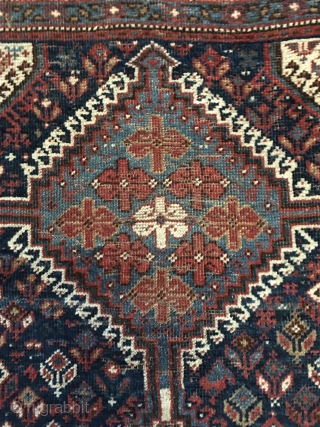 Striking Antique Southwest Persian Afshar rug. All colors derived from natural dyes. Good condition with a few areas of low pile (see image no. 4). ends complete and stabilized. Nice blues and  ...