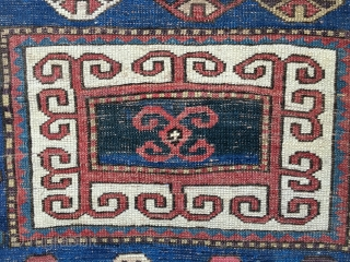 """Early Antique Caucasian Karachop (or variant) long rug, probably from 3rd Qtr 19thC. Beautiful bold design with a great variety of colors including several blues, aubergine, lemon yellow, and green. Size: 9'3""""  ..."""