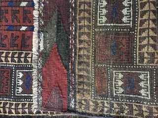 Unusual Design Antique Baluch Rug, probably Khorasan, with all natural colors. Good condition with lower pile in center. Outstanding original kilim ends with floating wefts in white cotton. Selvages partially replaced or  ...