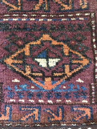"Two antique Baluch pieces: 1. Baluch ""Chanteh, size 15""X16"". Good condition and complete with full pile and backing. 2. Camel hair field Baluch Balisht, size 30""X 19"". Worn condition with fraying of  ..."