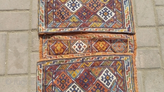 Persian old sirjan khorjin.soft wool with flying colours.size 100×45 cm.Email for more info and pics.  Nabizadah_carpets@yahoo.com