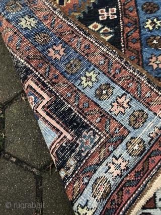 Antique Persian Heriz runner, navy blue ground color, size: 285x82cm / 9'4''ft x 2'7''ft
