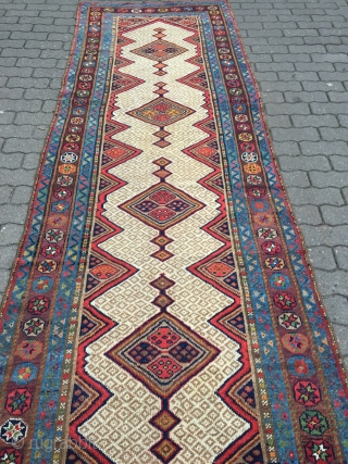 Very decorative antique Kurdish tribal runner,19th century size: ca. 435x102cm / 14'3''ft x 3'3''ft wool on wool, sides and ends rebound.  www.najib.de