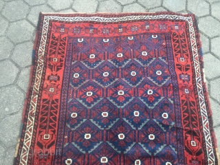 "Antique Baluch inspired Luri (?) rug from Southwest Persia. Glossy, shiny wool and beautiful vivid indigo blue color. Very nice ""Mina Khani"" drawing. Size: 260x130cm / 8'5''ft x 4'3''ft, one small sewn  ..."