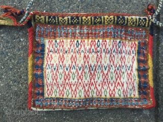 "Lovely small flat woven Qashqai personal bag or so called ""chanteh"", very nice tribal weaving from Qashqai tribes of Southwest Persia. Wool pattern on cotton foundation, size: 25x20cm"