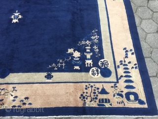 Estate find: Antique oversize Chinese Peking rug, very decorative, size: 520x303cm / 17'1''ft x 10ft , used original condition, some minor localized wear, still very decorative.