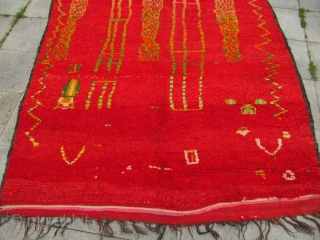 Semi-Antique Morroccan Berber carpet , highly decorative Morroccan tribal art . Size : 380cm x 195cm ( 12'5'' x 6'4'' )