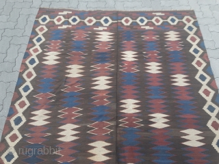 A very nice antique Persian kilim, probably from the Veramin region. Age: 19th century. All natural colors, size: ca. 267x183cm / 8'8''ft x 6ft