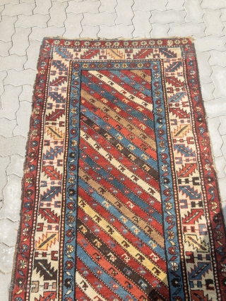 Colorful antique Caucasian Shahsavan (?) long rug, age: 19th century, all natural colors, size: ca. 297x98cm / 9'8''ft x 3'2''ft