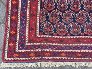 Large antique Afshar tribal rug from Southpersia with a very well drawn Boteh field pattern. Wool foundation, good quality. Size: ca. 305x165cm / 10ft x 5'5''ft some light wear, otherwise good overall  ...
