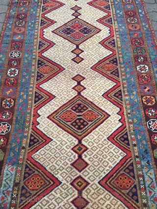 Very decorative antique Kurdish tribal runner,19th century size: ca. 435x102cm / 14'3''ft x 3'3''ft wool on wool, sides and ends rebound.
