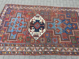 Antique Caucasian Lori Pambak rug, good spacing and drawing, beautiful vivid colors including a very nice pistachio green and two massive sky blue medallions surrounding a white ground center medallion. The white  ...