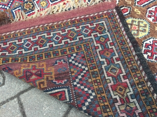 Antique Kordi rug from the Kurdish enclave in Khorossan province of Northeast Persia, happy colors, shiny wool, good condition. Size: 260x135cm / 8'5''ft x 4'4''ft Age: circa 1910,  www.najib.de