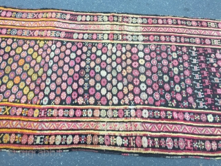 Colorful and funky antique Caucasian Karabagh long rug, age: circa 1900. Size: ca 360x133cm / 11'9''ft x 4'4''ft