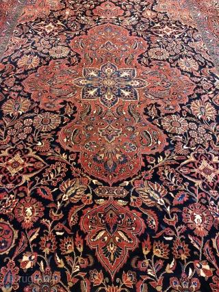Large antique Persian Saruk carpet, very decorative. Elegant design, size: ca. 530x320cm / 17'4''ft by 10'5''ft