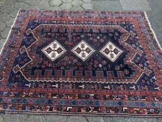 Antique Afshar rug from Southpersia, size: 200x165cm / 6'6''ft by 5'4''ft, lower pile in the middle, otherwise good condition.