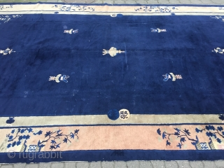 Estate find: Antique oversize Chinese Peking rug, very decorative, size: 520x303cm / 17'1''ft x 10ft , used original condition, some localized wear and old repairs, still very decorative.
