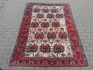 Antique ivory ground Afshar rug from Shahre Babak area of South-Persia, size: ca. 220x150cm / 7'2''ft x 5ft, very nice design with trees and animals. Age: circa 1900-1910, good overall condition with  ...